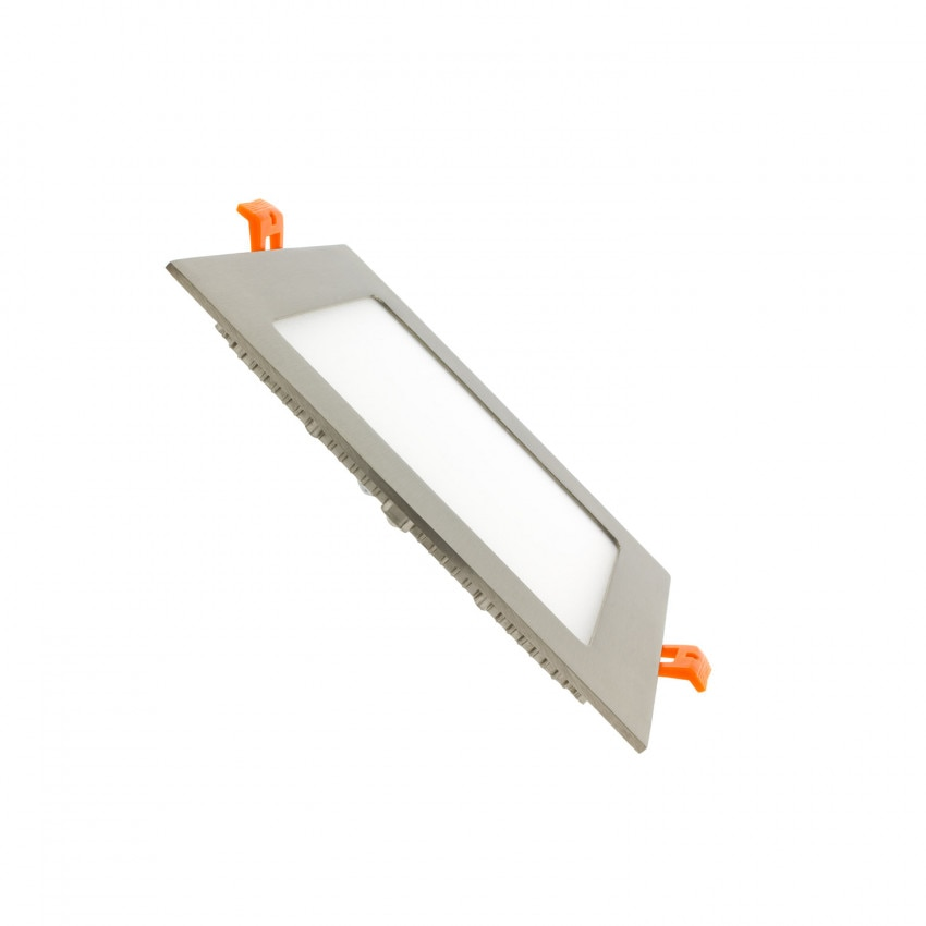 Dalle LED Carrée Extra-Plate 12W Argentée Coupe 152x152mm