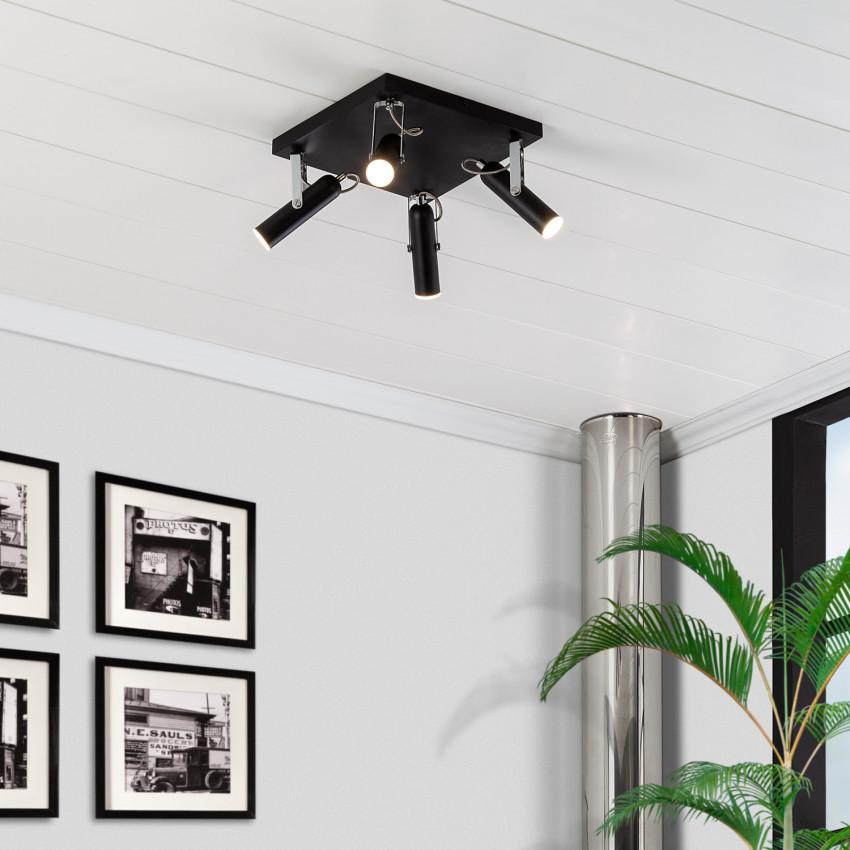 Plafonnier LED Orientable Bari 4 Spots 16W Noir