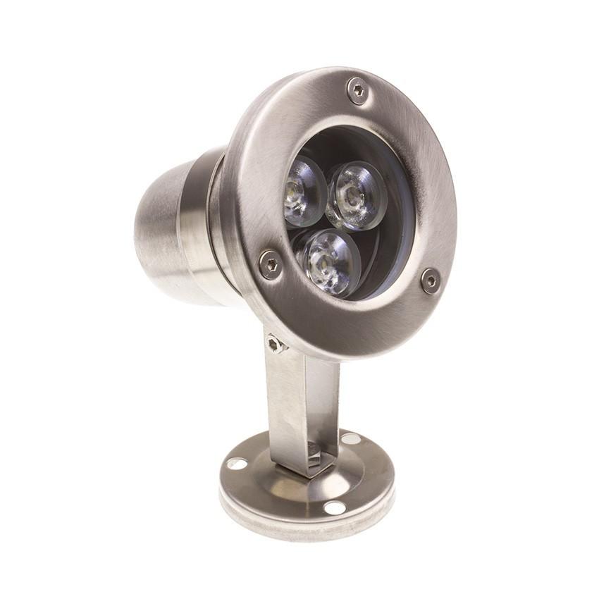 Spot LED Fixation au Sol Inox RGB 12V 3W