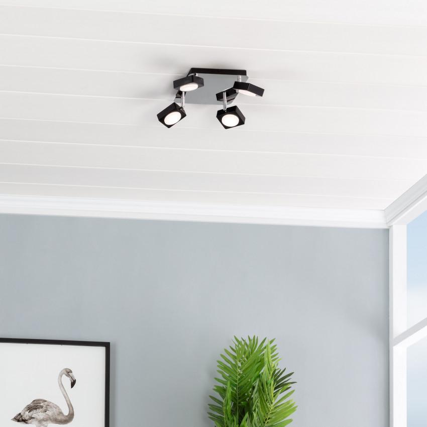 Plafonnier LED Orientable Capri 4 Spots 24W Noir