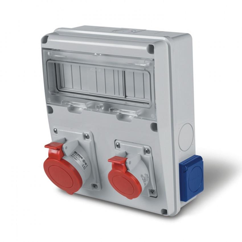 Coffret Électrique 11 Modules DIN 2 Prises 3P+N+T 16A + 2 Prises type F IP44 Enerbox SCAME