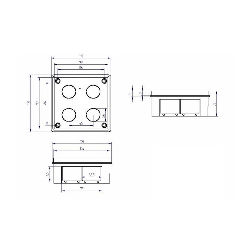 bo te de d rivation encastrer 105x105x51 mm ledkia france. Black Bedroom Furniture Sets. Home Design Ideas