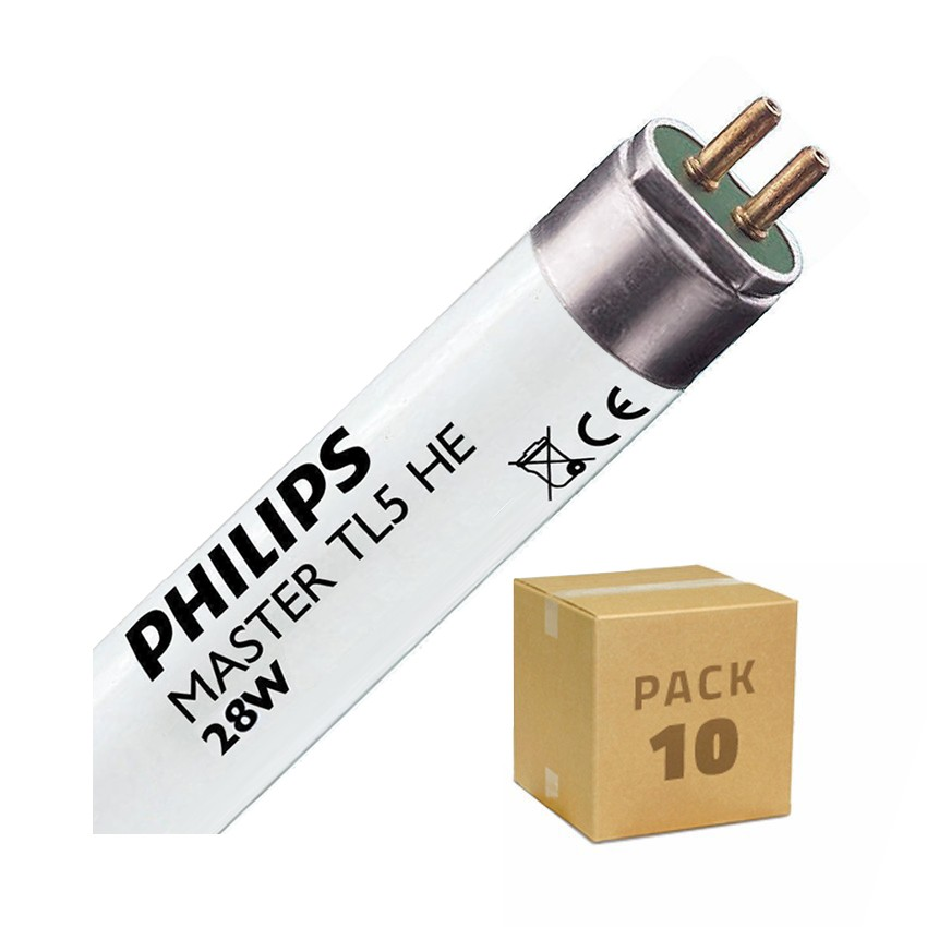 Pack Tube fluorescent Dimmable PHILIPS T5 HE 1150mm Connexion des 2 côtés 28W (10 Un)