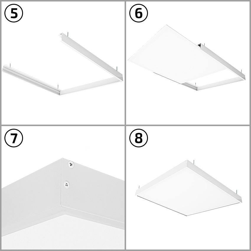 panneau led slim 60x60cm 40w 3200lm kit en saillie. Black Bedroom Furniture Sets. Home Design Ideas