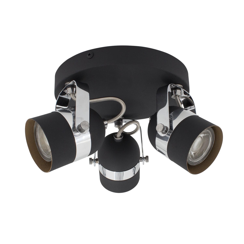 lampe de plafond ronde orientable sinner 3 spots noir. Black Bedroom Furniture Sets. Home Design Ideas