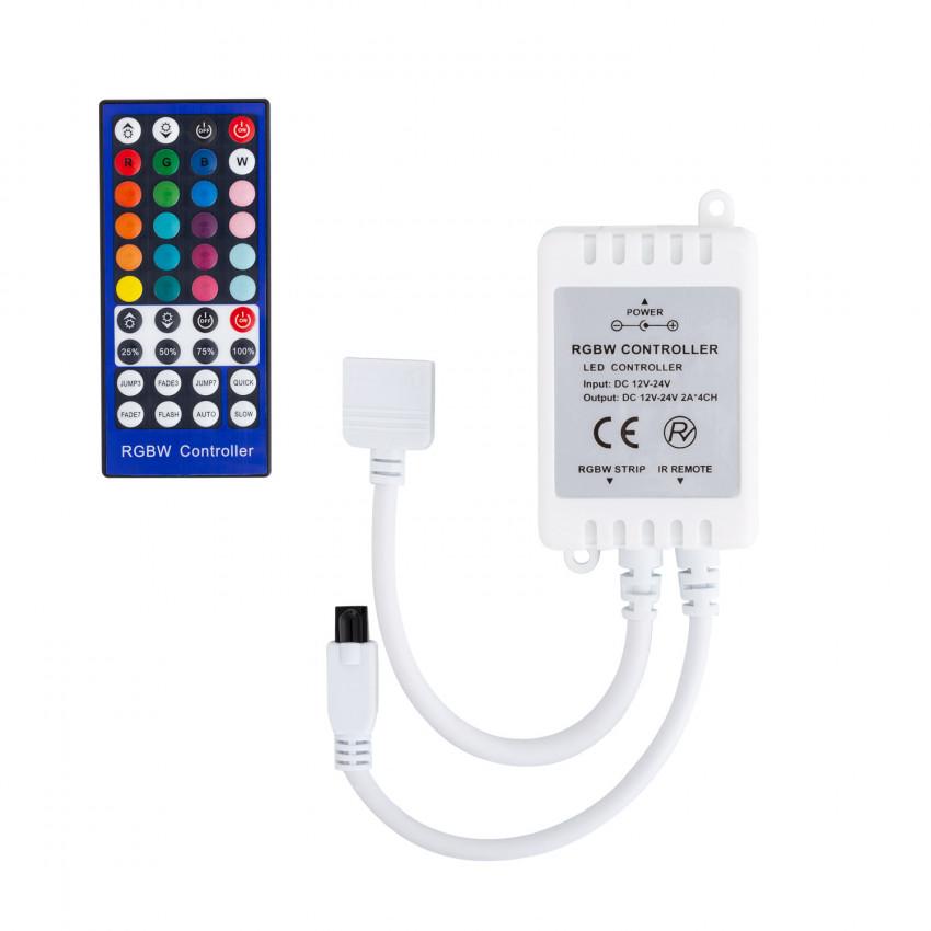 Contrôleur Ruban LED RGBW 12-24V, Dimmable par Télécommande IR 40 Touches