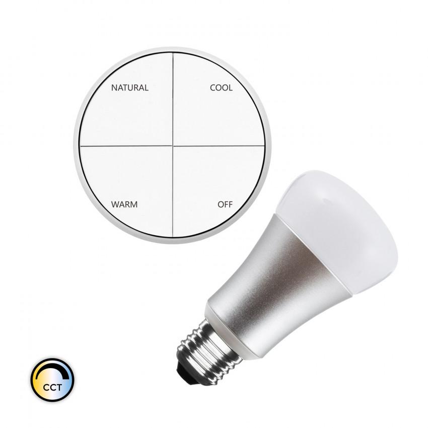 Kit Poussoir Sans Fils CCT Sélectionnable + Ampoule LED 8W