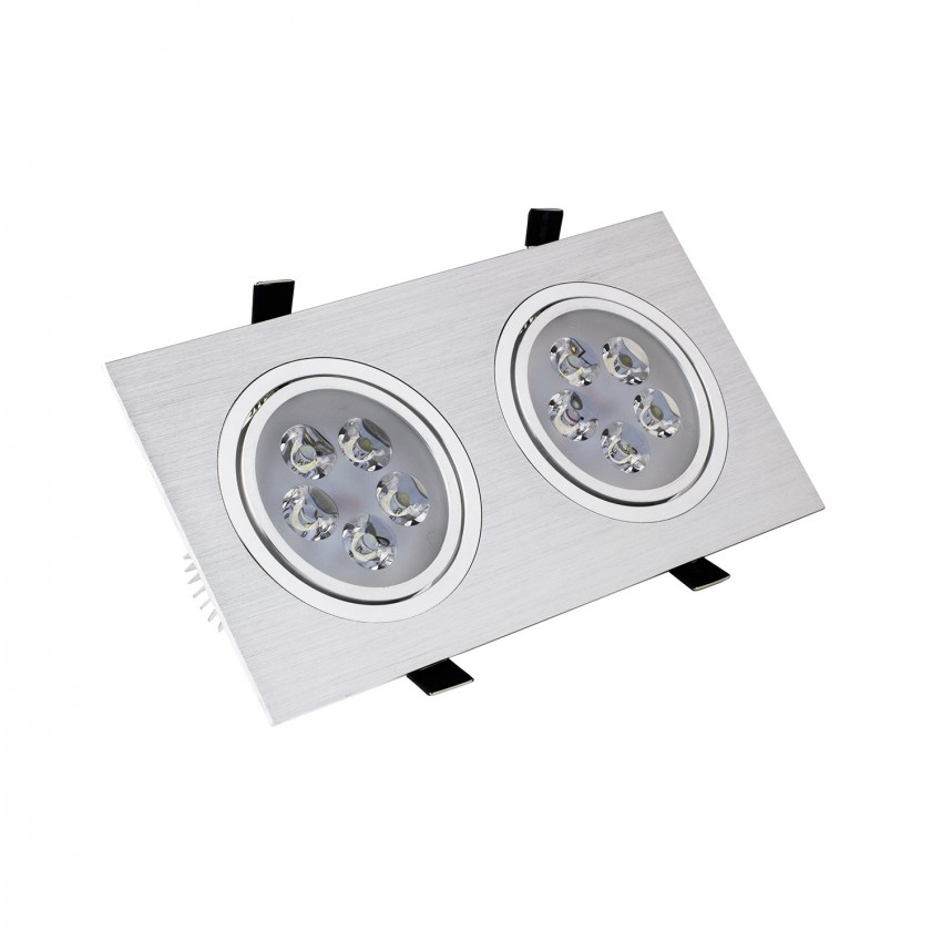 Spot LED Downlight Orientable Rectangulaire 2x5x1W Coupe 2xØ 86 mm