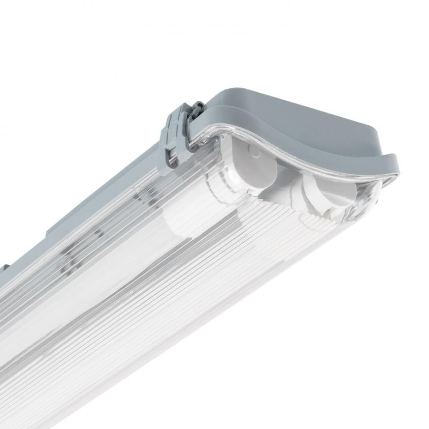 Réglette Étanche Slim pour deux Tubes LED 600mm PC/PC Connexion Latérale