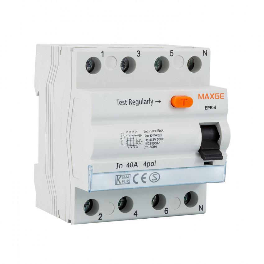 Interrupteur Différentiel Résidentiel MAXGE 4P-30mA-Clase AC-10kA