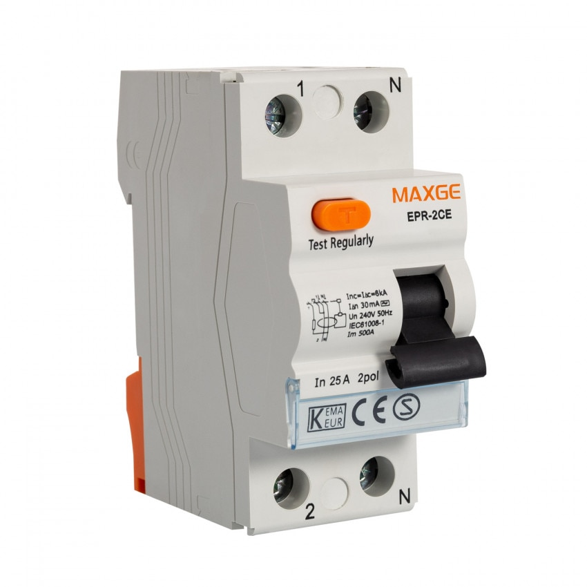 Interrupteur différentiel Résidentiel MAXGE 1P+N-30mA-Clase AC-6kA