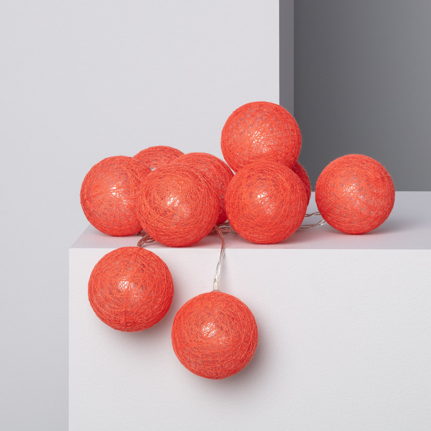 Guirlande LED 10 Boules Red Sugar 1.65m/2.85m
