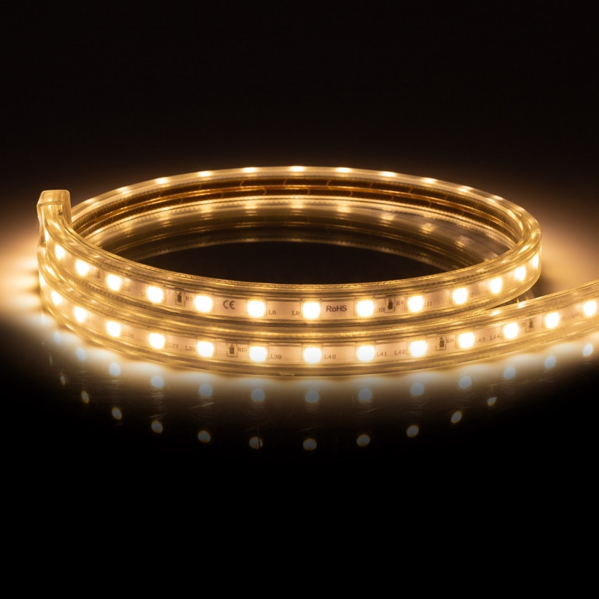 Ruban LED Dimmable 220V AC 60 LED/m Blanc Chaud IP65 sur Mesure Coupe Tous les 100cm