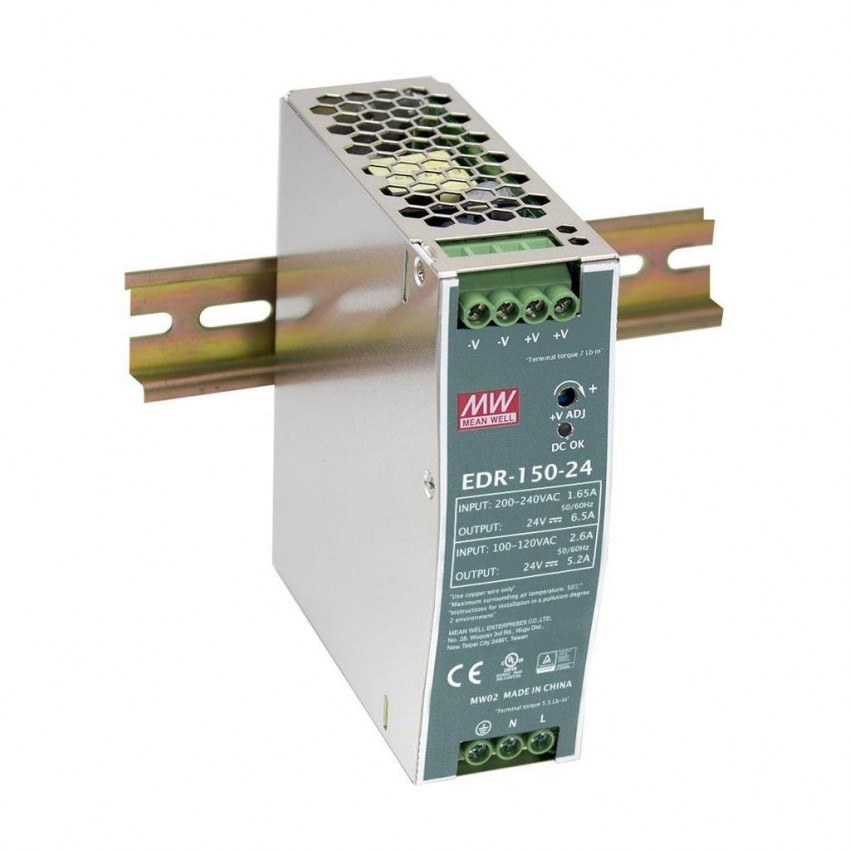 Alimentation MEAN WELL 150W 24V 6.5A EDR-150-24 pour Rail DIN