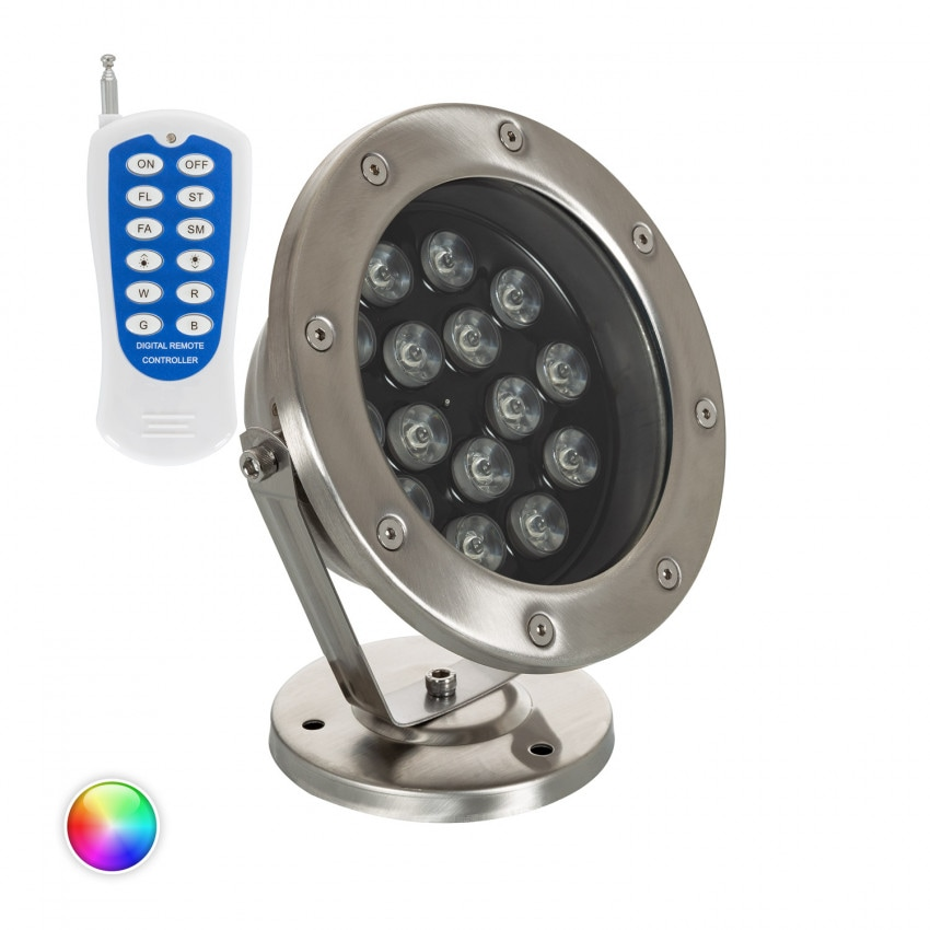 Spot LED RGB Fixation au Sol 24V 15W Submersible IP68