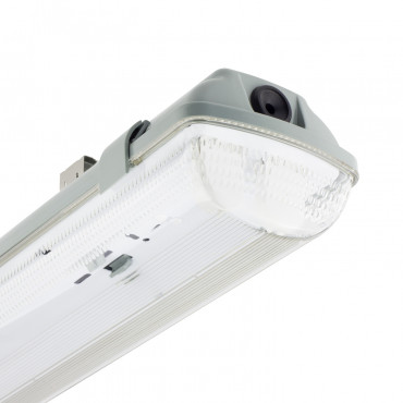Plafoniera Stagna per due Tubi a LED 1200mm PC/PC Connessione Unilaterale