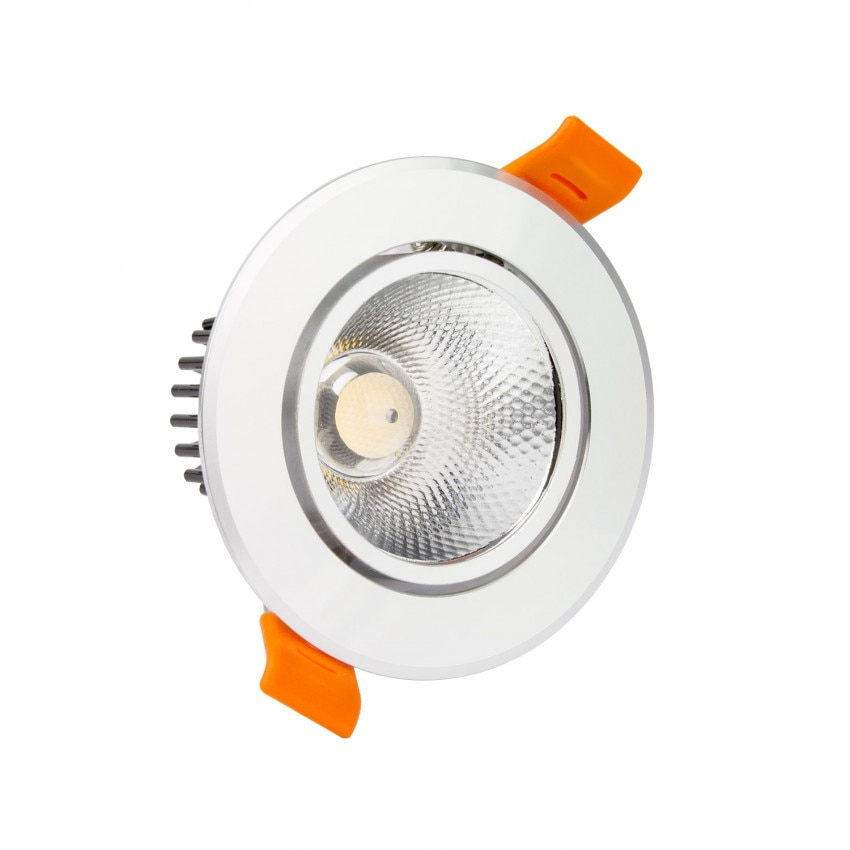Faretto Downlight LED COB Orientabile Rotondo 7W Argento Foro Ø 65 mm