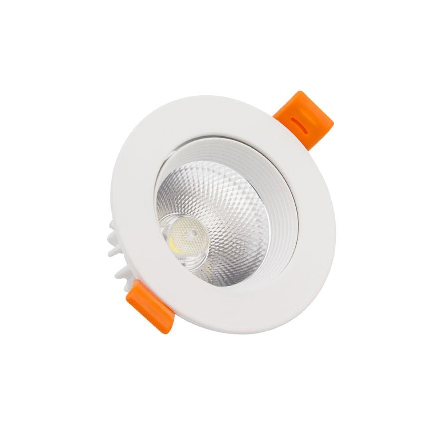 Faretto Downlight LED COB Orientabile Rotondo 9W Bianco Foro Ø 90 mm