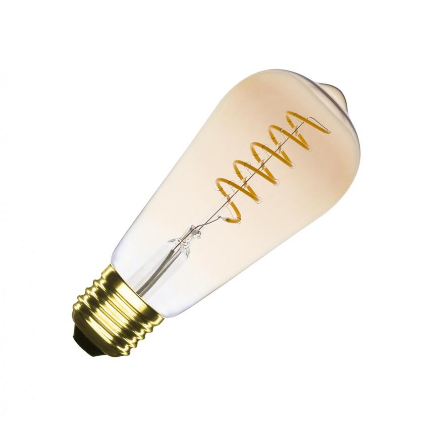 Lampadina LED E27 Regolabile Filamento Spirale Gold Big Lemon ST64 4W