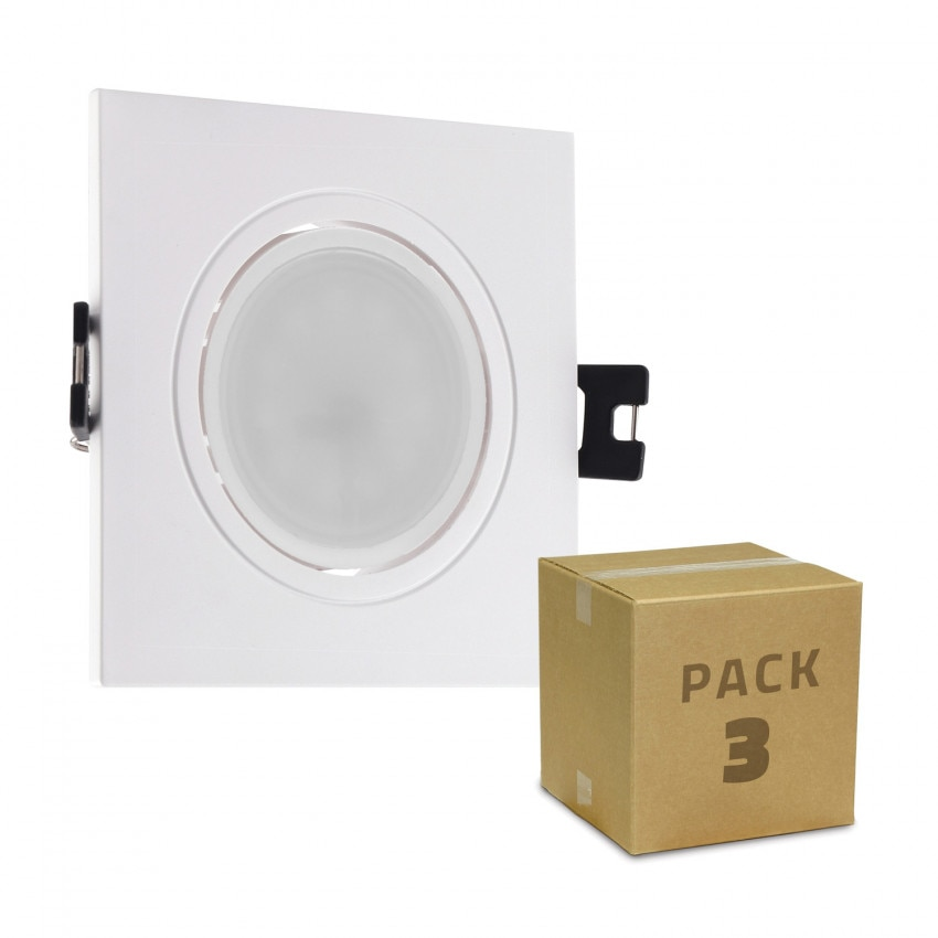 Pack 3 Faretti Downlight GU10 6W Foro Ø 75-85mm