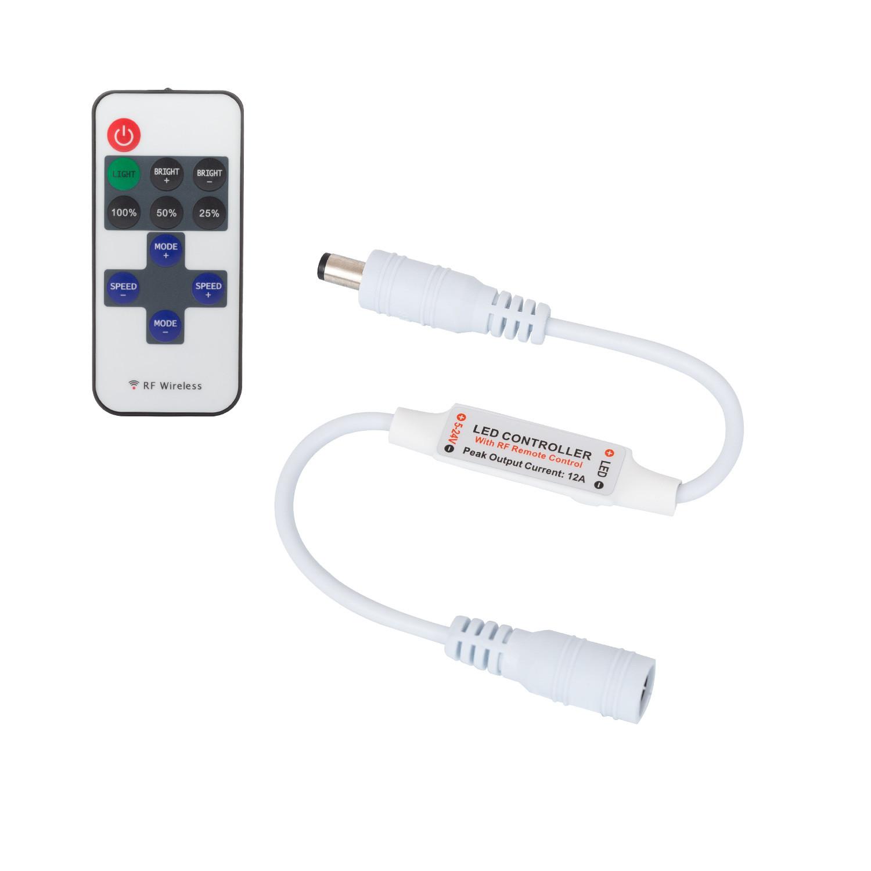 Accensione Lampadario Con Telecomando mini controller striscia led monocolore 12/24v, dimmer con telecomando rf  10 pulsanti