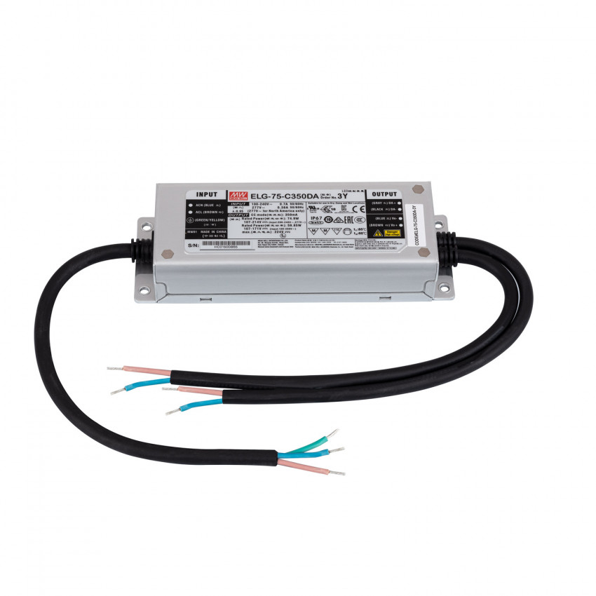 Driver MEAN WELL Regolabile DALI IP67 100-240V Output 107-214V 350mA 75W ELG-75-C350-DA