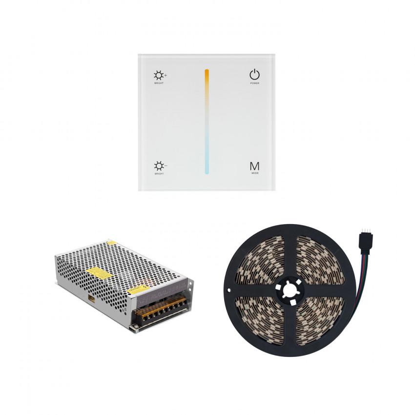 Striscia LED 12V DC 60LED/m 5m CCT Selezionabile IP20 con Controller Touch e Alimentazione