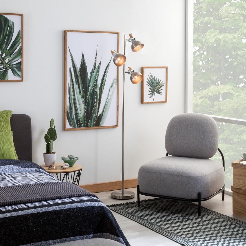 Silver Emer Floor Lamp with 3x Spotlights