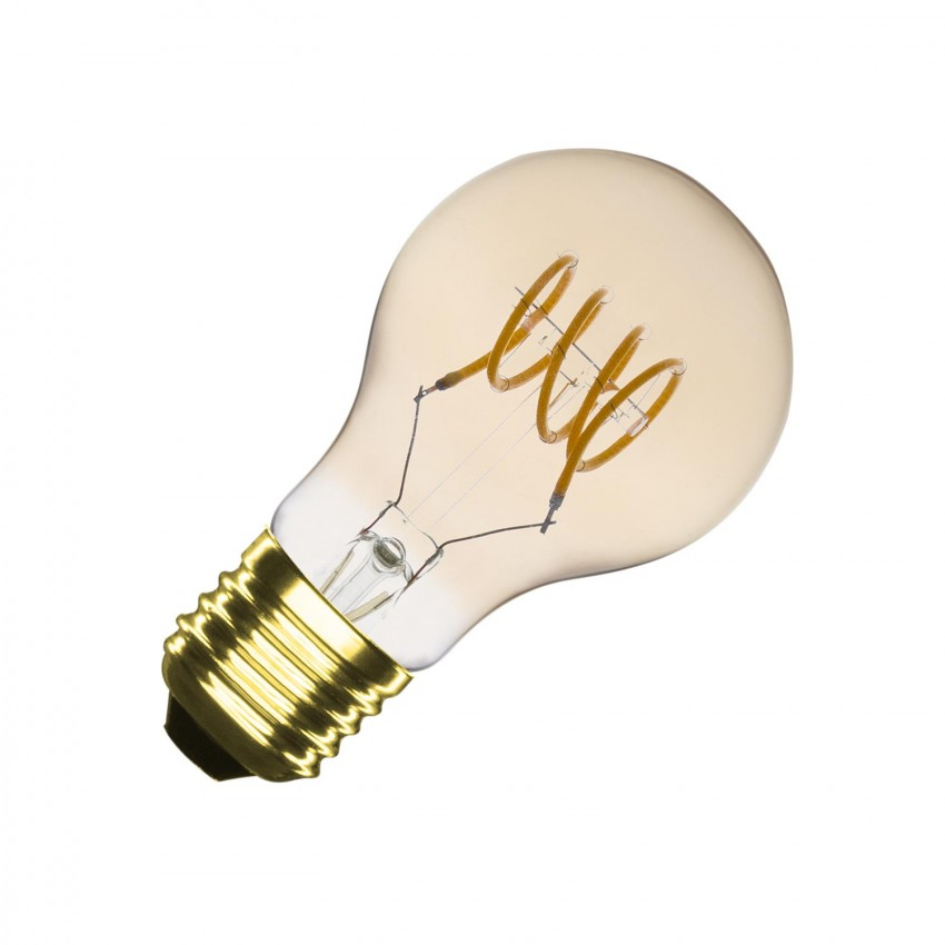 A60 E27 4W Classic Gold Spiral Filament LED Bulb (Dimmable)
