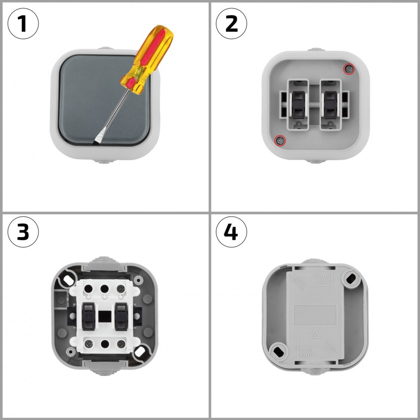 Simple 1-gang 2-way Switch  Ip54