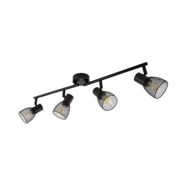 Black Adjule Linear Grid Ceiling Light With 4x Spotlights