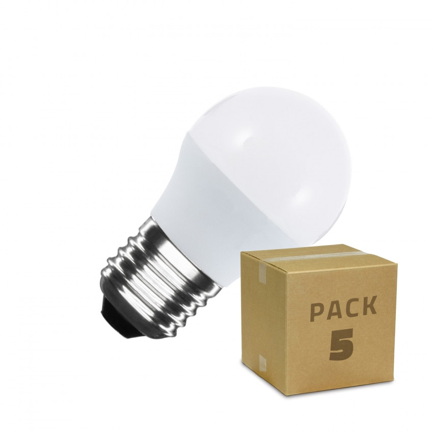 Pack of 5W E27 G45 LED bulbs (5 un)
