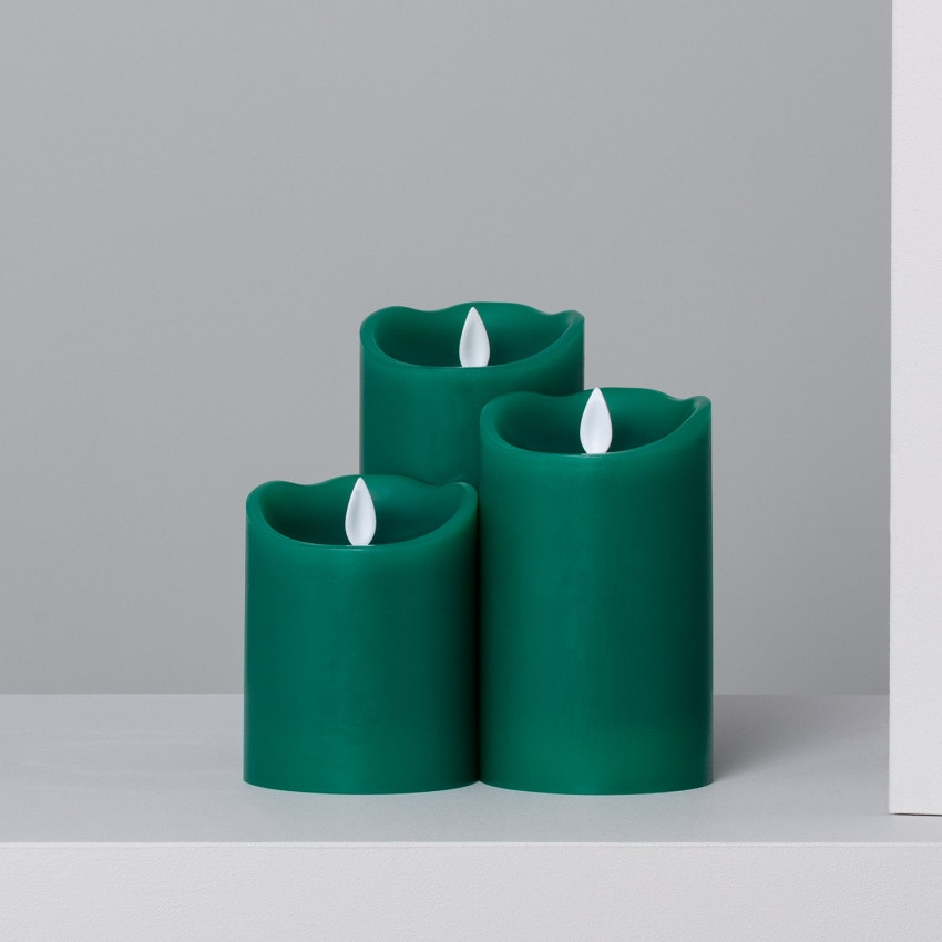 Set of 3 Green Special Flame Natural Wax LED Candles