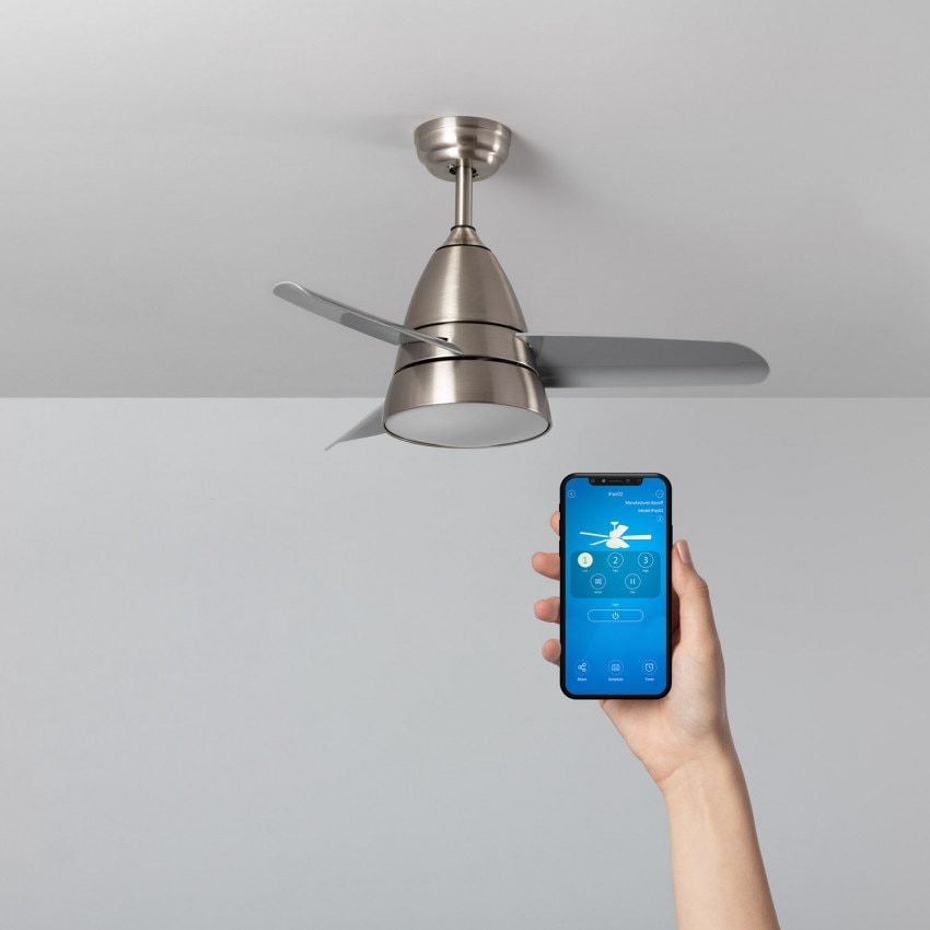 Silver 91cm Motor AC Industrial Smart WiFi Selectable CCT LED Ceiling Fan