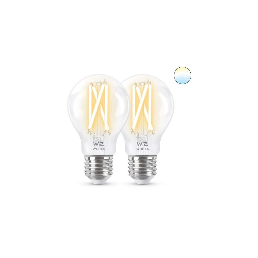 Pack of 6.7W E27 A60 Smart WiFi WIZ CCT Dimmable LED Filament Bulbs (2 un)