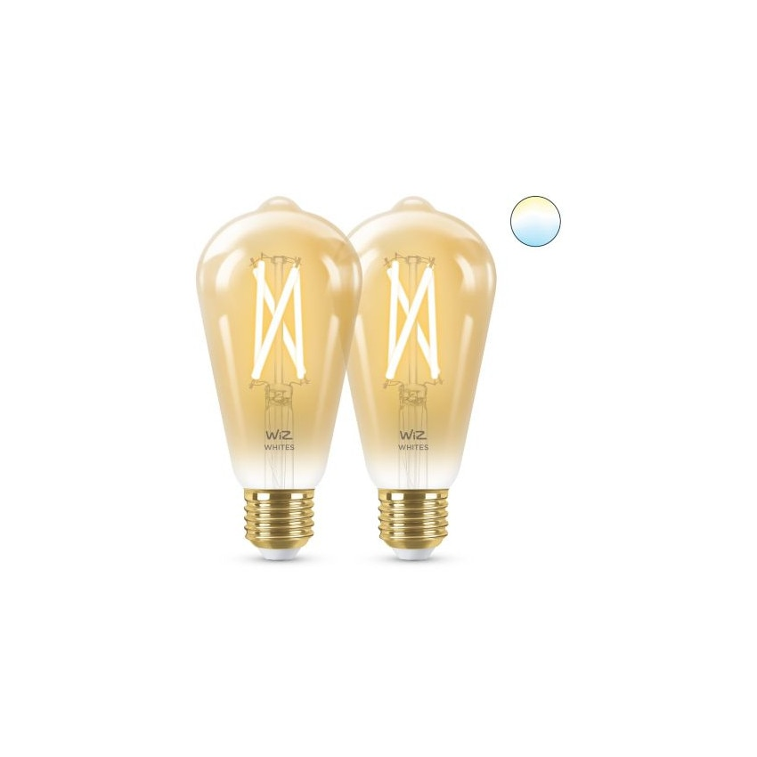 Pack of 6.7W E27 ST64 Smart WiFi WIZ CCT Dimmable LED Vintage Filament Bulbs (2 un)
