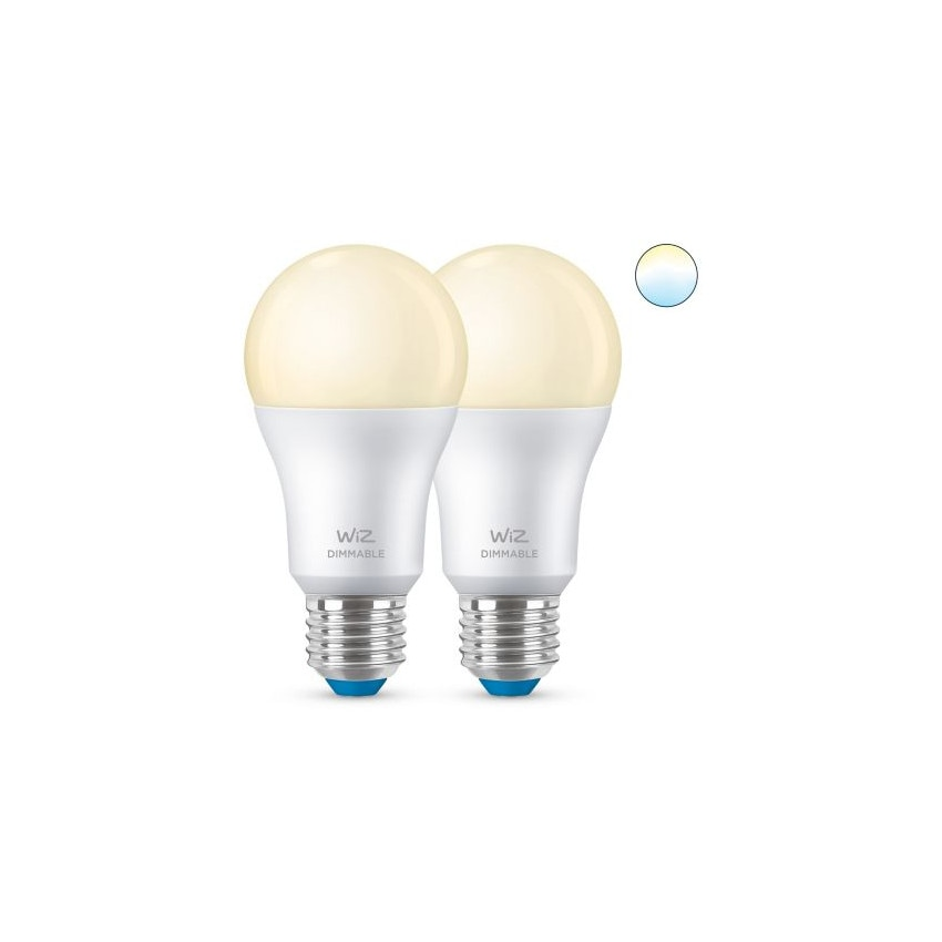 Pack of 8W E27 A60 Smart WiFi + Bluetooth WIZ Dimmable LED Bulbs (2 un)