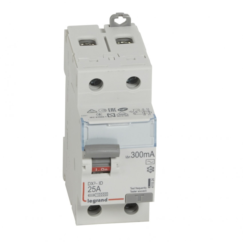 LEGRAND 411506300mA Class AC 25-63 A DX3 Tertiary 2P Differential Switch